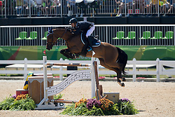 Albarracin Matias, ARG, Cannavaro 9<br /> owner of the horse of Jerome with arms in the air<br /> Olympic Games Rio 2016<br /> © Hippo Foto - Dirk Caremans<br /> 14/08/16