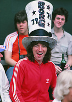 Tennis - Wimbledon Tennis Championships 1979 Mens Singles Final Bjorn Borg v Roscoe Tanner. Fan with his Borg hat. Credit : Colorsport / Andrew Cowie