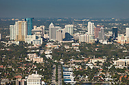 Aerial view of downtown Fort Lauderdale and East Las Olas Boulevard looking west