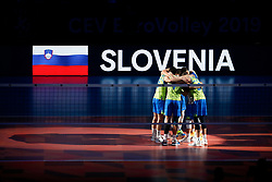 PARIS, FRANCE - SEPTEMBER 29: Team Serbia huddles before the EuroVolley 2019 Final match between Serbia and Slovenia at AccorHotels Arena on September 29, 2019 in Paris, France.  Photo by Catherine Steenkeste / Sipa / Sportida