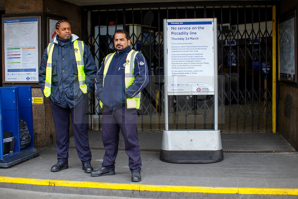 © Licensed to London News Pictures. 24/03/2016. London, UK. Wood Green station staff helping commuters as Piccadilly Line tube drivers' strike action shuts down the entire line on Thursday, 24 March 2016 in London. Photo credit: Tolga Akmen/LNP
