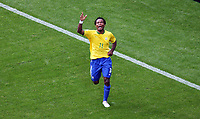 Photo: Chris Ratcliffe.<br /> Brazil v Ghana. Round 2, FIFA World Cup 2006. 27/06/2006.<br /> Ze Roberto of Brazil celebrates the third goal.