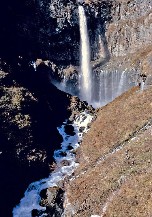 Kegon Falls in Nikko National Park, Honshu, Japan, is 330 feet high.