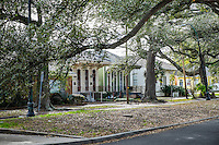 NEW ORLEANS - CIRCA FEBRUARY 2014: View of famous Opelusas Ave and live oaks in Algiers Point, a popular community within the city of New Orleans in Louisiana.