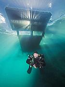 KISS Sidewinder rebreather diver under the platform in Dutch Springs, Scuba Diving Resort in Pennsylvania