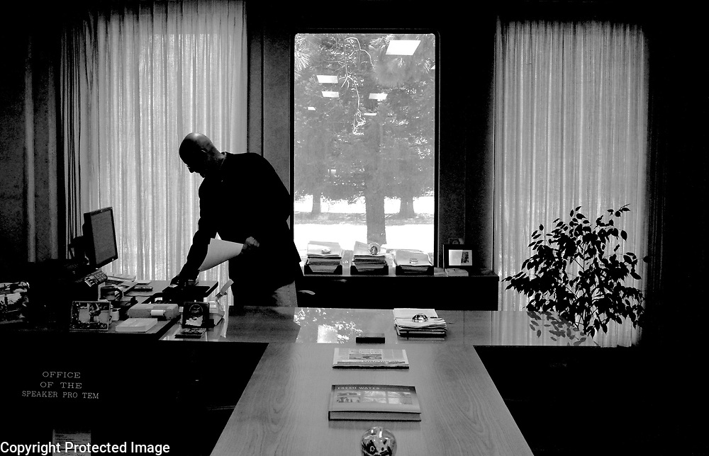 Santa Cruz County Treasurer Fred Keeley works in his office in the county Government Center in Santa Cruz, California the day he announced he will not be running for re-election.<br /> Photo by Shmuel Thaler <br /> shmuel_thaler@yahoo.com www.shmuelthaler.com
