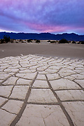 Playa Patterns and Grapevine Mountains after Sunset, Death Valley National Park, California