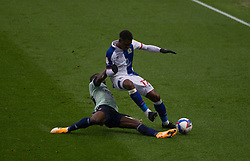 Amari'i Bell of Blackburn Rovers (R) is tackled by Jordi Osei-Tutu of Cardiff City - Mandatory by-line: Jack Phillips/JMP - 03/10/2020 - FOOTBALL - Ewood Park - Blackburn, England - Blackburn Rovers v Cardiff City - English Football League Championship