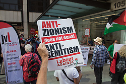 Supporters of left-wing Labour Party groups, including some suspended members, attend a protest lobby outside the party's headquarters on 20th July 2021 in London, United Kingdom. The lobby was organised to coincide with a Labour Party National Executive Committee meeting during which it was asked to proscribe four organisations, Resist, Labour Against the Witchhunt, Labour In Exile and Socialist Appeal, members of which could then be automatically expelled from the Labour Party.