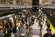 Commuters wait for trains during the evening commute in the Embarcadero Muni Metro Station. A Bart strike caused chaos for commuters coming in and out of San Francisco. AC Transit and San Francisco Bay Ferry managed the trans bay commutes, while Muni handled the dissplaced commuters within San Francisco.   July 2, 2013