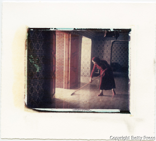 Sweeping the entryway to hotel, Morocco<br /> Image size 4x5, Matted 12x10 Edition of 25 <br /> Archival Pigment Print