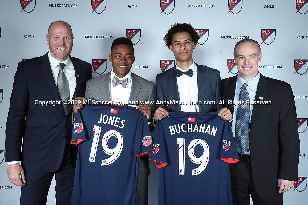 CHICAGO, IL - JANUARY 11: Tajon Buchanan was taken with the ninth overall pick and DeJuan Jones with the eleventh by the New England Revolution. With head coach Brad Friedel (left) and general manager Mike Burns (right). The MLS SuperDraft 2019 presented by adidas was held on January 11, 2019 at McCormick Place in Chicago, IL.