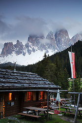 Cabin Glow, a log cabin in the Dolomite Mountains of South Tyrol, Italy