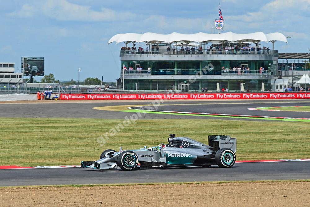 Lewis Hamilton (Mercedes) during practice for the 2014 British Grand Prix in Silverstone. Photo: Grand Prix Photo