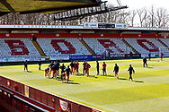 Ground shot of team warming up during the EFL Sky Bet League 2 match between Stevenage and Bradford City at the Lamex Stadium, Stevenage, England on 5 April 2021.
