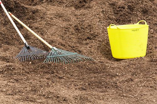 gardening, rake, bucket, dirt, rakes, gardening tools, tools, chores, season, nature, farming