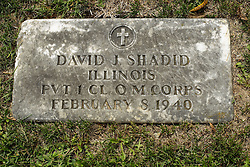 31 August 2017:   Veterans graves in Park Hill Cemetery in eastern McLean County.<br /> <br /> David J Shadid Illinois Private 1 CL Q M Corps February 8 1940