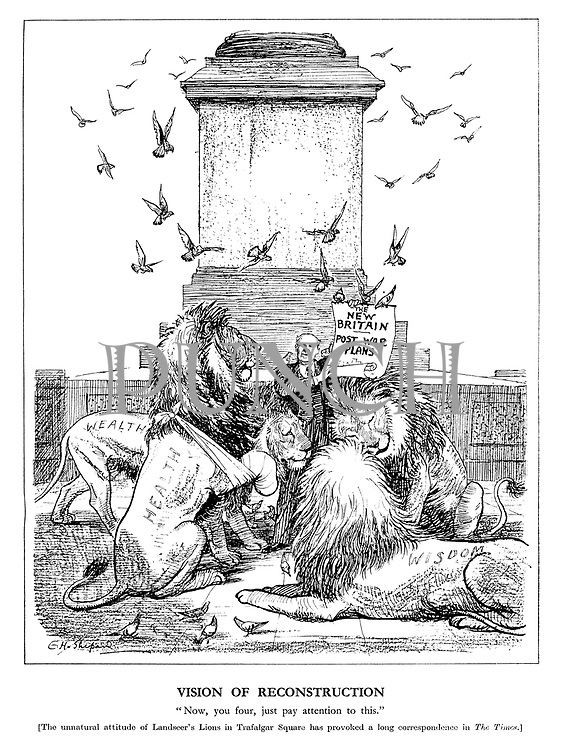 "Vision of Reconstruction. ""Now, you four, just pay attention to this."" [The unnatural attitude of Landseer's lions in Trafalgar Square has provoked a long correspondence in The Times.]"