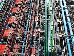 Pipes etc on exterior of Pompidou Centre, Paris, France