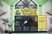 """""""World's Best Teachers"""" sign hangs in the hallway at Colin Powell Elementary in Grand Prairie, Texas on October 7, 2016. """"CREDIT: Cooper Neill for The Wall Street Journal""""<br /> PUBLICS"""