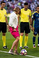 The spanish swimmer olympic Maria Belmonte takes the kick honor during a match of La Liga Santander at Santiago Bernabeu Stadium in Madrid. August 27, Spain. 2016. (ALTERPHOTOS/BorjaB.Hojas)
