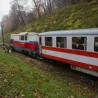 Train arrives to the Children's Railway station Szepjuhaszne in the Buda Hills in Budapest, Hungary on November 15, 2014. ATTILA VOLGYI