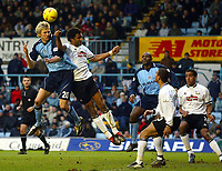 Foto: Scott Heavey, Digitalsport<br /> NORWAY ONLY<br /> Coventry City v Derby County. Nationwide Division One. 28/02/2004.<br /> Calum Davenport has his header blocked by Youl Mawene
