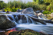 Small waterfall in the Los Angeles River, Sepulveda Basin Recreation Area, Los Angeles, California, USA