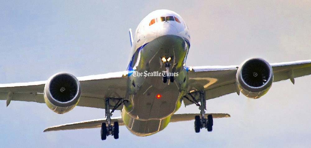 An All Nippon Airways 787 takes off from Paine Field in Everett. (Mike Siegel / The Seattle Times)