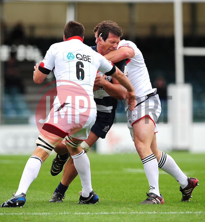 Bristol's Mariano Sambucetti is tackled by Newcastle's Ally Hogg - Photo mandatory by-line: Josephmeredith.com  - Tel: Mobile:07966 386802 02/09/2012 - SPORT - RUGBY - Memorial Stadium - Bristol. Bristol Rugby v Newcastle Falcons