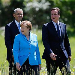 07.06.2015, Schloss Elmau, Krün, GER, G7 Gipfeltreffen auf Schloss Elmau, im Bild Angela Merkel beim Spaziergang mit Barack Obama und David Cameron, // during the G7 summit at Schloss Elmau in Krün, Germany on 2015/06/07. EXPA Pictures © 2015, PhotoCredit: EXPA/ SM<br /> <br /> *****ATTENTION - OUT of GER*****