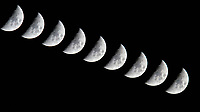 Waxing Crescent Moon. Composite of nine images (10 second interval) taken with a Nikon D810a camera and 600 mm f/4 VR lens (ISO 800, 600 mm, f/11, 1/250 sec). Raw images processed with Capture One Pro and Photoshop (scripts, maximum).