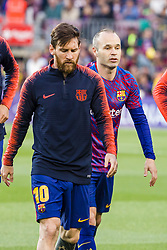 May 6, 2018 - Barcelona, Catalonia, Spain - FC Barcelona forward Lionel Messi (10) and FC Barcelona midfielder Andres Iniesta (8) before the match between FC Barcelona v Real Madrid, for the round 36 of the Liga Santander, played at Camp nou  on 6th May 2018 in Barcelona, Spain. (Credit Image: © Urbanandsport/NurPhoto via ZUMA Press)