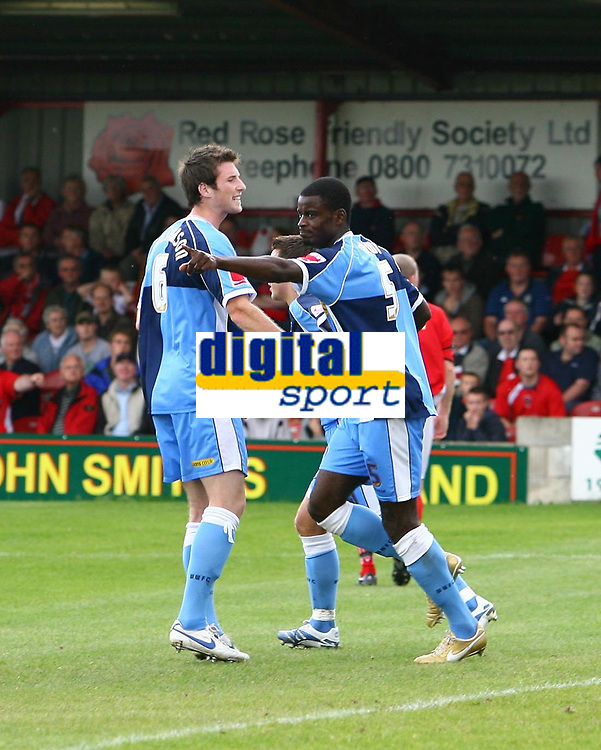 Photo: Andrew Unwin.<br />Accrington Stanley v Wycombe Wanderers. Coca Cola League 2. 30/09/2006.<br />Wycombe's Will Antwi (R) celebrates his goal.