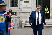 Pro remain campaigner Steve Bray interviews Minister of State for the Home Office Kit Malthouse MP, as he leaves the Cabinet office in London, United Kingdom on 16th August 2019.