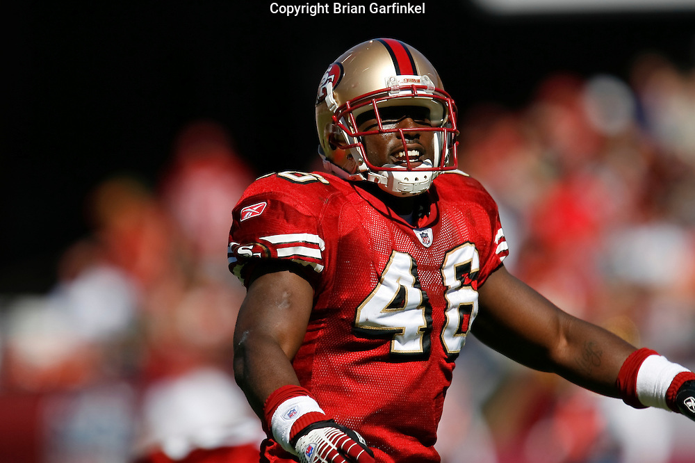 12 Oct 2008: San Francisco 49ers tight end Delanie Walker #46 reacts after a play during the game against the Philadelphia Eagles on October 12th, 2008. The Eagles won 40-26 at Candlestick Park in San Francisco, California.