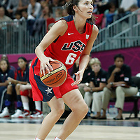 05 August 2012: USA Sue Bird eyes the basket during 114-66 Team USA victory over Team China, during the women's basketball preliminary, at the Basketball Arena, in London, Great Britain.
