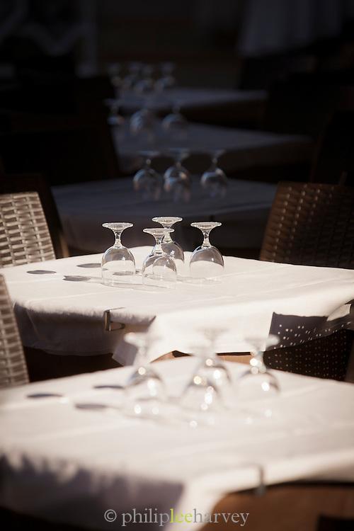 Restaurant tables, Island of Burano.Venice, Italy, Europe