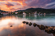 Sunset over the bay at Zaton, Dalmatian Coast, Croatia