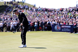 Marcus Kinhult celebrates his winning putt on the 18th hole during day four of the Betfred British Masters at Hillside Golf Club, Southport.