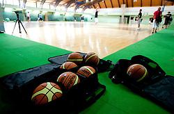 Molten balls at practice session of Slovenia basketball team on media day on July 16, 2010 at Rogla sports center, Slovenia. (Photo by Vid Ponikvar / Sportida)