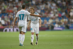 August 27, 2017 - Madrid, Spain - Lucas Vasquez and Luka Modric. LaLiga Santander matchday 2 between Real Madrid and Valencia. The final score was 2-2, Marco Asensio scored twice for Real Madrid. Carlos Soler and Kondogbia did it for Valencia. Santiago Bernabeu Stadium, august 27, 2017. Photo by  (Credit Image: © |Antonio Pozo |  Media Expre/VW Pics via ZUMA Wire)