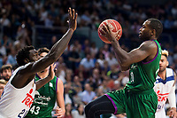 Real Madrid's player Othello Hunter and Unicaja Malaga's player Oliver Lafayette during match of Liga Endesa at Barclaycard Center in Madrid. September 30, Spain. 2016. (ALTERPHOTOS/BorjaB.Hojas)