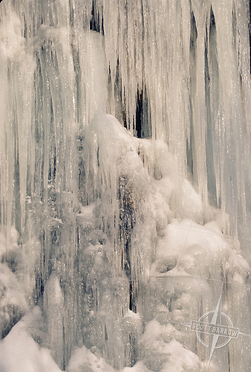 Ice formation on rock face