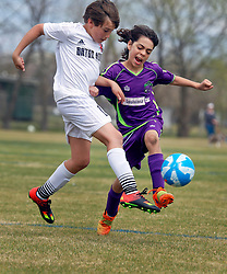 28 February 2016. Burbank Soccer Complex, Baton Rouge, Louisiana.<br /> New Orleans Jesters Youth Academy U10 Green vs BRSC Bourgeois. Jesters win 4-3.<br /> Photo©; Charlie Varley/varleypix.com