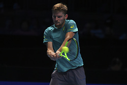November 18, 2017 - London, England, United Kingdom - David Goffin of Belgium plays a forehand during his three set victory against Roger Federer of Switzerland in their semi final match the Nitto ATP World Tour Finals at O2 Arena on November 18, 2017 in London, England. (Credit Image: © Alberto Pezzali/NurPhoto via ZUMA Press)