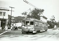 1936 Streetcar at Gardner Junction on Sunset Blvd.