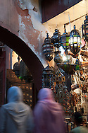 Moroccan lamps for sale in the souk, Djemaa El-Fna Medina, Marrakech, Morocco