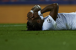 December 12, 2018 - Valencia, Spain - Michy Batshuayi of Valencia lies injured on the pitch during the match between Valencia CF and Manchester United at Mestalla Stadium in Valencia, Spain on December 12, 2018. (Credit Image: © Jose Breton/NurPhoto via ZUMA Press)