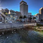 View of the Embarcadero from around Pier 14 by the bay, downtown San Francisco, CA.